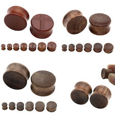 Men's Women's Pair Organic Wood Double Flared Saddle Stretch Ear Stretcher Plugs