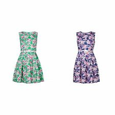 Yumi Womens/Ladies Zip Back Floral Dress With Belt (YM121)