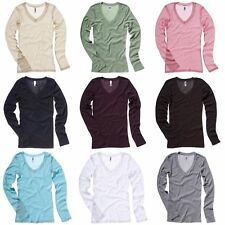 Bella + Canvas Womens/Ladies Sheer MiniRib Long Sleeve V-Neck T-Shirt (RW3097)