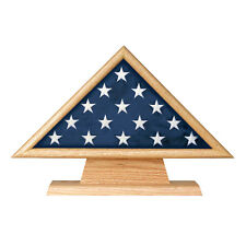 Oak 3 X 5 Flag Memorial Case on Pedestal with Engraved Plate