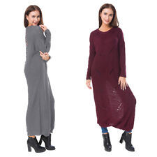 Oversize Baggy Sweater Knit Round Neck Womens Jumper Dress Tops
