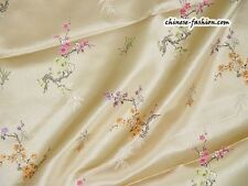 Chinese Silk Brocade Fabric Cherry Blossom Bamboo Print