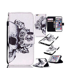 BL_ Flip Faux Leather Skull Head  Case Cover for iPhone For Samsung Adorable