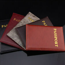 Women Men Travel Passport Holder Leather Cover ID Credit Card Holder Wallet SW