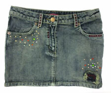 Girls Ex-Chain Store Blue Denim Skirt with Diamante & Stud Detail