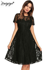 RUIYIGE Ladies Womens Short Sleeve Lace Floral Skater Cocktail Party Swing Dress
