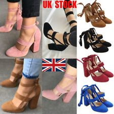 UK Women Block High Heels Lace Up Ankle Strap Pumps Gladiator Sandals Shoes Size