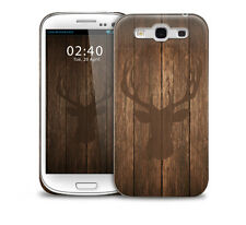 Stags Head on Wooden Effect glossy protective phone cover case. iPhone/GS