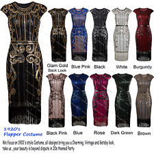 Cocktail 1920s Flapper Dress Gatsby Party Fringed Costume Evening Prom Gown 4-20