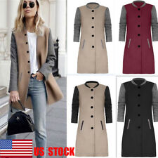 US Womens Winter Long Coat Outwear Button Trench Overcoat Parka Patchwork Jacket