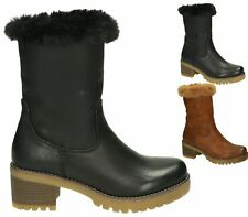 WOMENS FAUX LEATHER SUEDE FUR LINED ZIP WINTER BIKER PUNK ARMY ANKLE BOOTS SIZE