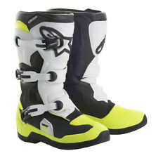 NEW Alpinestars Tech 3s YOUTH KIDS MX Motocross Boots - Black/White/Yellow Fluo