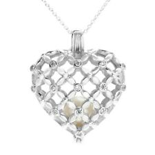 925 Sterling Silver 0.14 Carat CZ Heart Pearl Cage Pendant & Necklace 7mm Pearl