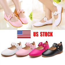 US Kids Mary Janes Ballet Pumps Girls Flower Flat Party Formal School Shoes Size
