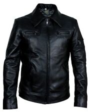 Mens Stylish Bomber Rider Slim Fit Casual Retro Black Real Leather Jacket