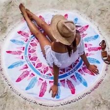 Round Beach Towel Yoga Mat Picnic Table Throw Feather Pattern Microfiber Thick