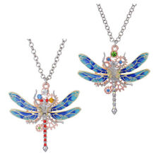 Exquisite Gear Dragonfly Steampunk Pendant Necklace with Long Chain Jewelry