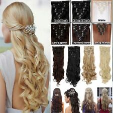 New 100% Natural Remy Clip In Hair Extensions Full Head Straight Wavy 18Clips KD