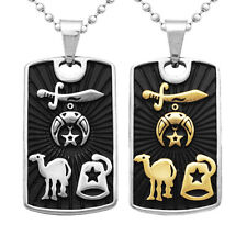 Engraved Desert Star Camel Sword Dog Tag Pendant Necklace Ball Bead Chain