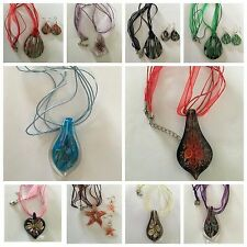 lampwork Murano art glass beaded pendant necklace BUY ONE GET ONE FREE