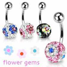 "Belly Button Piercing Ferido Crystal 4 Colors "" Flower "" Piercings from coolbody"