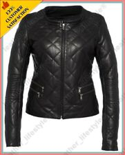 Women's Genuine Lambskin Leather Quilted Slim fit Designer Biker Jacket WN089