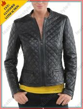 HOT Women's Genuine Lambskin Real Leather Quilted Slim fit Biker Jacket WN025