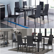Contemporary Glass Dining Table and 4 or 6 PU Leather Chairs Kitchen Dining Set