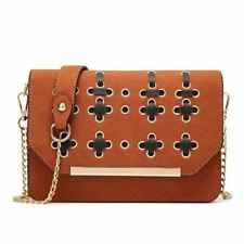Women Black Brown Color Flap Shaped Single Strap Solid Pattern Crossbody Bag