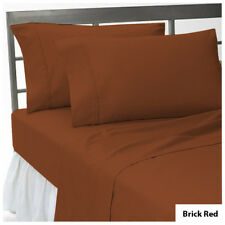 All AU Bedding Item-1000TC Egyptian Cotton Sheets/Duvet/Flat Brick Red Solid
