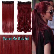 Maroon mix Dark Red Half Full Head Clip in Hair Extensions Curly Straight Hair