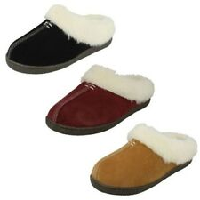 Ladies Clarks Suede Leather Warm Lined Slip On Mule Slippers - Home Classic