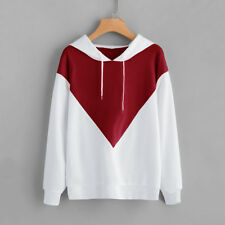 Stitching Color Hoodie Hot Fashion Hooded Casual Women Tops Long Sleeve Pullover