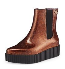 Vivienne Westwood Anglomania Melissa Chelsea Boots Unisex Creeper Brown Glitter