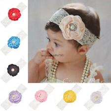 Multi-color Baby Girl Lace Imitate Pearl Flower Head Band Hair HE8Y