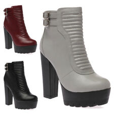 WOMENS CLEATED SOLE LADIES RIBBED DESIGN HIGH HEEL ZIP UP BOOTS SHOES SIZE 3-8