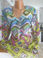 sheego Chiffon Tunic Blouse Size 42 - 52 Soft Falling with Sequins (24) NEW
