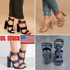 US Womens Buckle Ankle Strap Chunky Sandals Block High Heels Cocktail Shoes Size