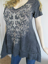 SeXy VoCal Black Mineral Wash Crystals Stones Cross Tunic Soft Top Shirt  S M