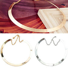 KQ_ Girl Lady Perfect Thin Mirrored Collar Necklace Choker Gold Silver Plated Ci
