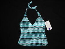 NWT JC Penney Barefoot Miss athletic HALTER TANKINI TOP ONLY swimsuit WOMENS 8