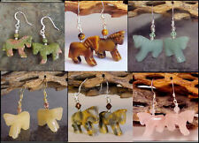 Gemstone HORSE Equestrian Carved Animal Earrings * Your Choice of stone