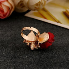 Resin Rose Flower Butterfly Finger Rhinestone Rings Fashion Adjustable Jewelry