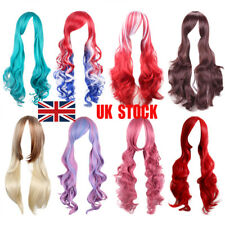 UK Women Long Curly Wigs Fashion Cosplay Costume Hair Anime Full Wavy Party Wigs