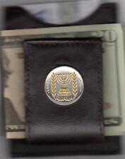 "Brown Leather ""Cowhide"" Folding Magnetic Israel 1/2 Lirah ""Menorah"" Money Clip"