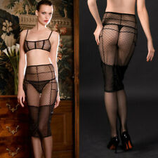 Sheer Black Mesh Stretch Seamed Sexy Garter Skirt Villa Cancan Maison Close