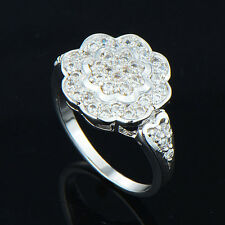 womens Fashion white gold filled Silver filigree clear crystal ring size 6 7 8 9