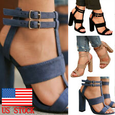 Women Block High Heel Ankle Buckle Ankle Strap Summer Peep Toe Strappy Sandal US