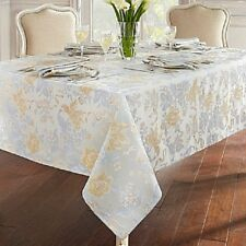 """Waterford Linens Tablecloth Eva 70"""" Round Blue Platinum Yellow Floral"""