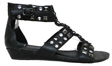 Gianni Bini Sz 7.5 M US Women's Black Leather Studded Gladiator Sandals Shoes